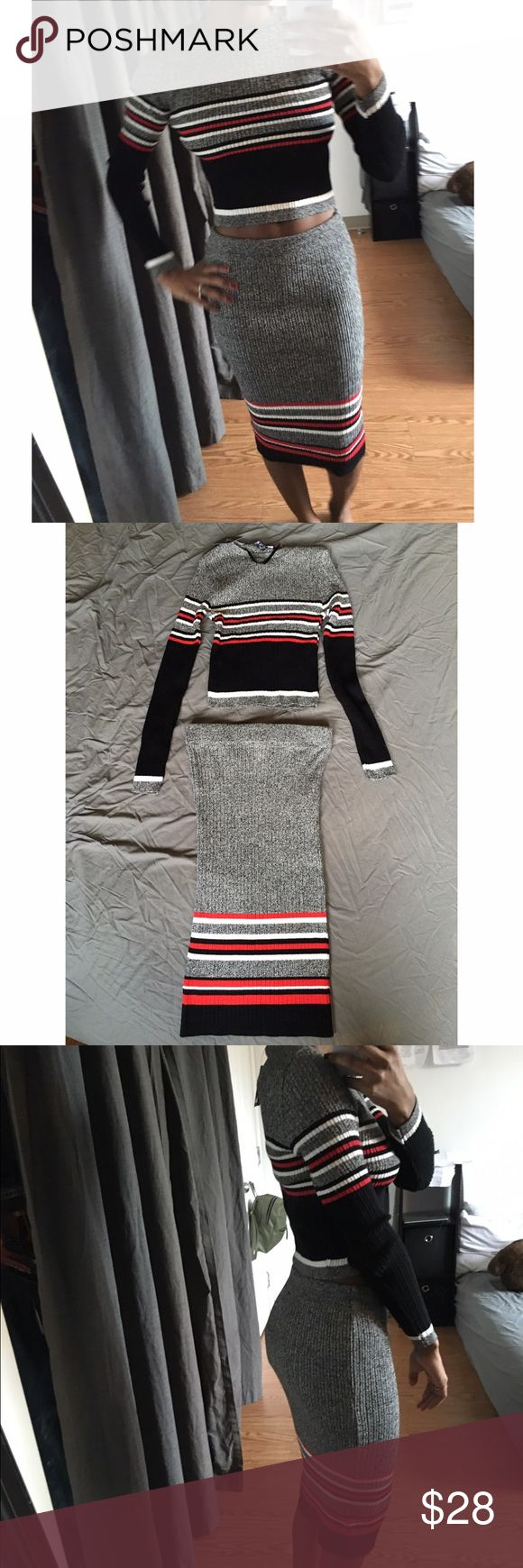 Two piece sweater and skirt set New with tags. Sweater material. Size 2/4 (will fit a small or extra small. Cropped long sleeve top and a midi length skirt. No trades or Paypal. Will ship next day. Other