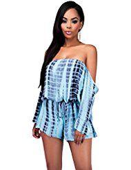 NEW Mesdames bleu Off épaule manches longues Tie Dye Grenouillère Body pour club Wear Summer vêtements Festival Taille L 12–14EU 40–42