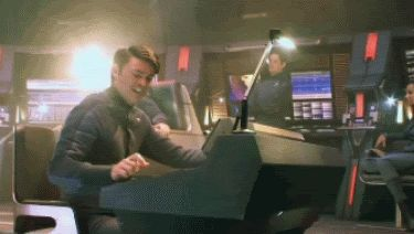 You know, just a gif of Karl Urban fake playing space invaders on his console.