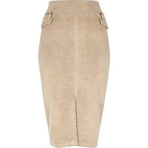 Beige faux suede pencil skirt