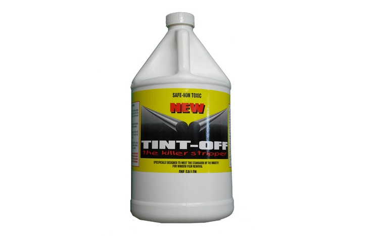 Tint Off works well for removing the window film and adhesive all at the same time. Reduce the amount of work needed to remove window film and adhesive. Strong, effective product---yet the non-toxic, biodegradable formula is safe for use in your customer's cars and on your installer's. Specifically formulated for the window film industry, Tint Off lets you remove window film without the hassles of traditional window film removers. Buy it here $20.00