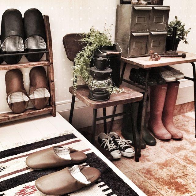 ブリキドロワー/古い鉄脚をリメイクしたテーブル/古い鉄脚をリメイクした椅子/バブーシュスリッパ…などのインテリア実例 - 2014-12-17 03:31:45 | RoomClip(ルームクリップ)