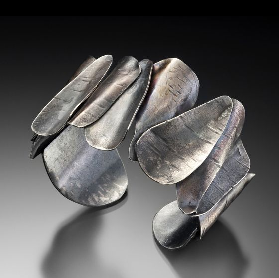 Cuff | Lori Gottlieb. 'Bark Series'. Sterling silver, patina