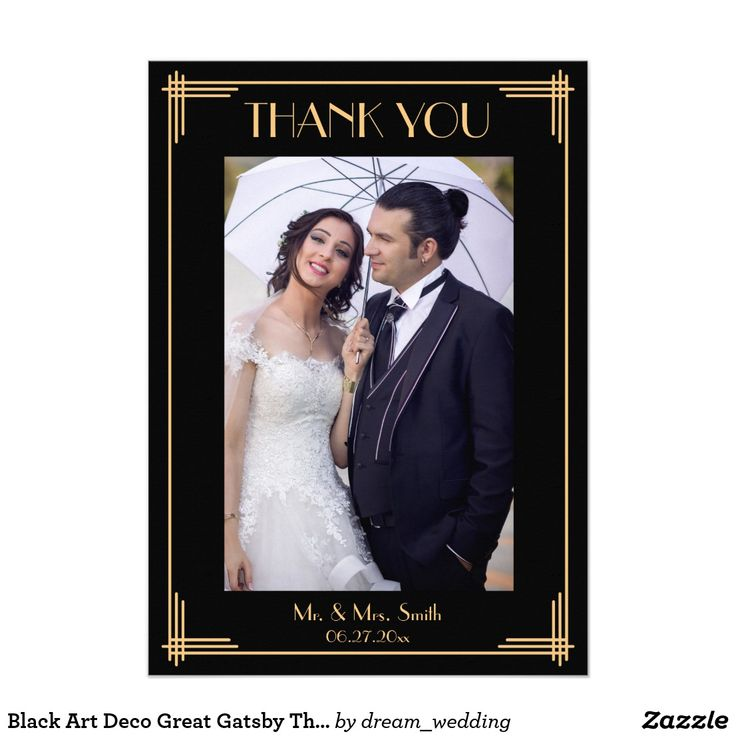 Black Art Deco Great Gatsby Thank You Wedding Card