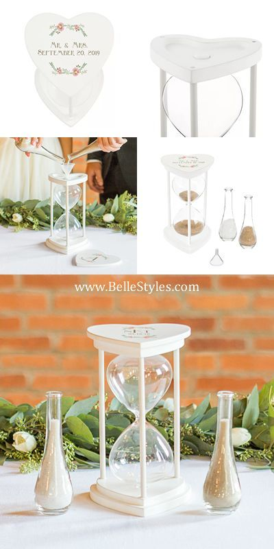 Brides just love this Personalized Floral Unity Sand Ceremony Hourglass Set. It's amazing hour glass design and personalized heart shaped frame makes this a must have for your sand ceremony.