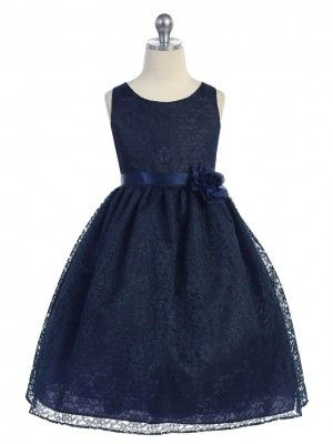 Navy Lovely Floral Lace Flower Girl Dress (Available in Sizes 2-12 in 13 Colors) prettyflowergirl.com