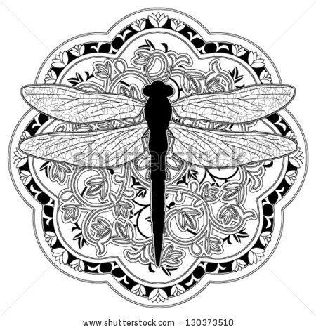 Dragonfly Medalion Stock Vector Dragonfly Tatoo Art