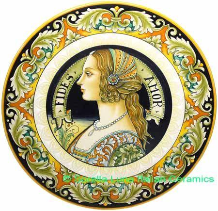 | Ceramic Majolica Plate Portrait Female BW GRN FIDES 42cm