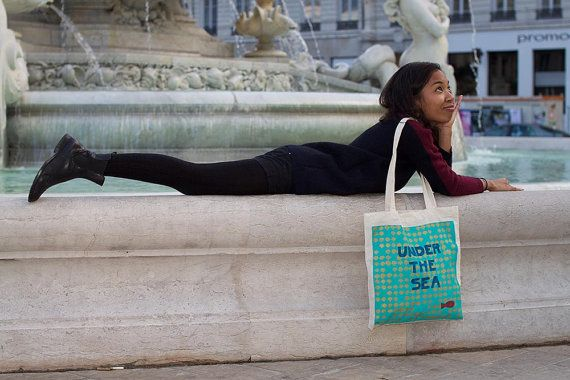"""Sac cabas """"Under The Sea"""" turquoise"""