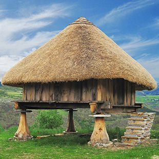 """Piorno"" in Los Ancares (Lugo) in Galicia (Spain) The piornos are very ancient constructions were people kept the grain crop to dry."