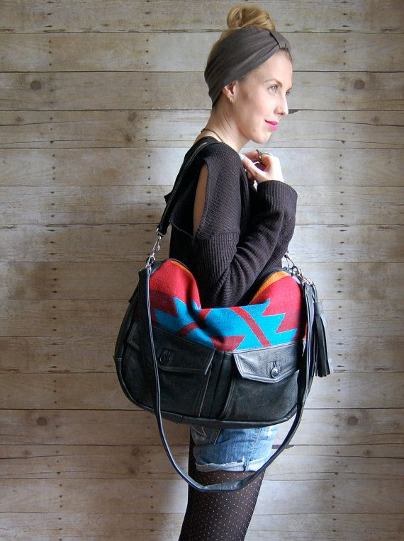 reclaimed leather bag: Reclaimed Leather, Style I M, Random Ish, Black Leather, Leather Work, Navajo Fabric, Leather Bags, Reclaimed Black