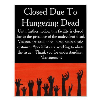 Hungering Dead Warning Poster - halloween decor diy cyo personalize unique party