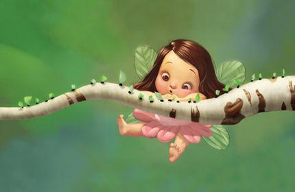 fatina, carino, piccoli, verdi ali, slip, sfondo verde, fantasia, a piedi nudi sfondi