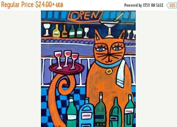 50% Off Today- Orange Cat Art Print Poster Bartender Funny Cat Art print of Painting by Heather Galler (HG7231)