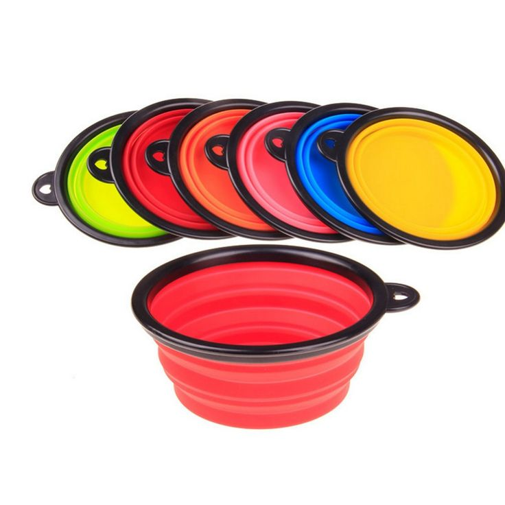 silicone Bowl pet folding portable Dog Bowls for food the dog drinking water bowl pet bowls 6 Colors 2016