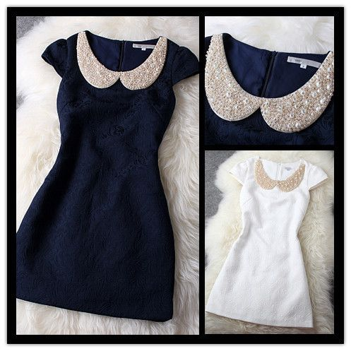 2014 New Fashion Pearl Sequins Rhinestone Peter Pan Collar Flower Embroidery Straight Dress For Women