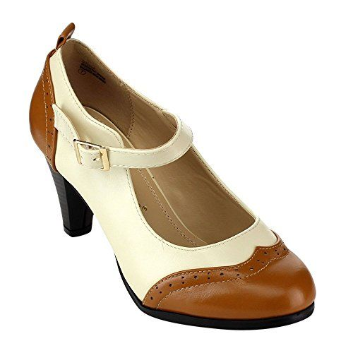Chase & Chloe Women's Round Toe Two Tone Mary Jane Pumps Tan/White)  adjustable buckle closure (It run small, we suggest order half size bigger.