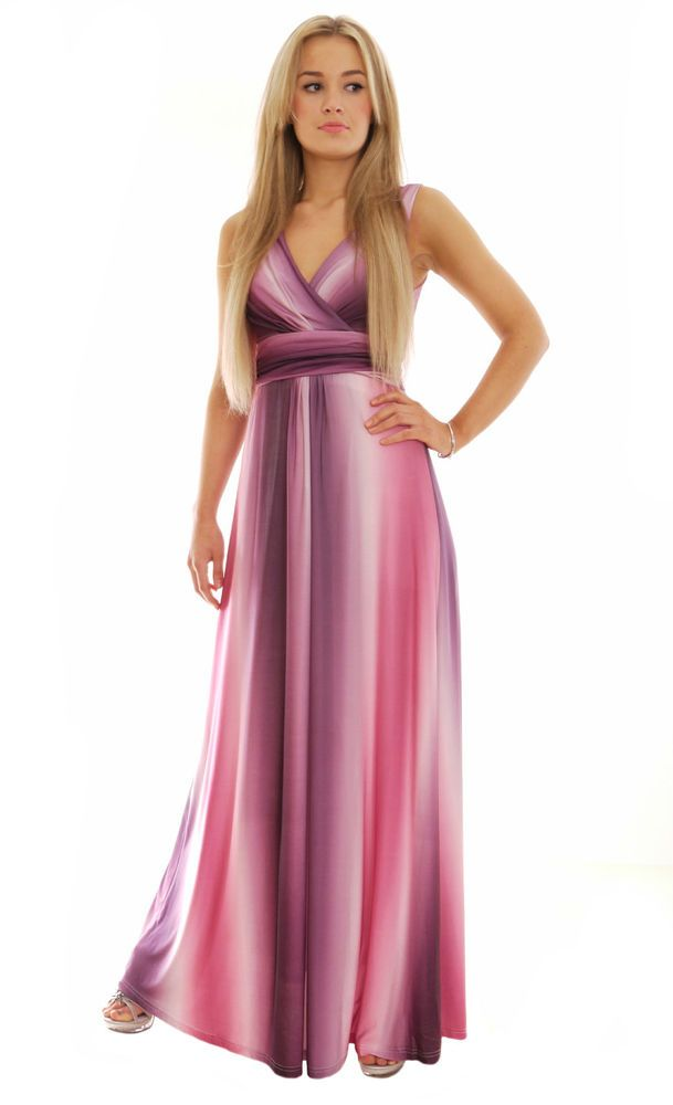 Details about Ladies Grecian Style Maxi Dress Party Dress Purple ...