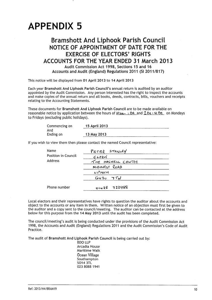 Bramshott \ Liphook Parish Council » Notices - audit notice - audited accounts template