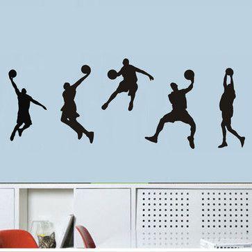 Sport Wall Decals NBA Stars 5 Boys Basketball traditional-kids-wall-decor