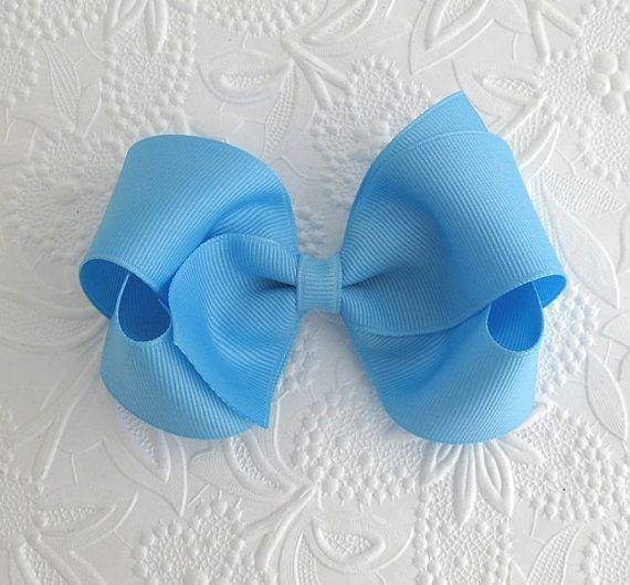 Sky Blue Hair Bow, Toddler Hair Bow, Baby Bows, Easter Hair Bow by PinkLemonadeDuxbury