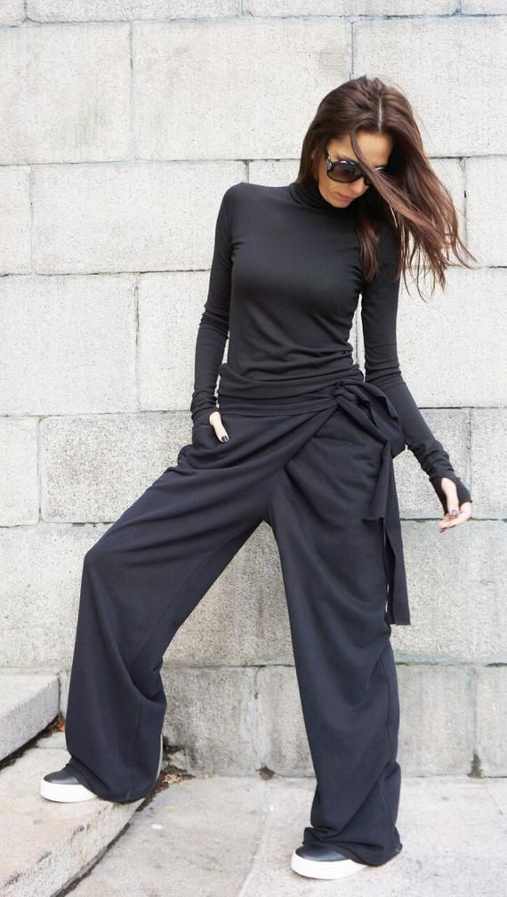 Loose Cotton Black Pants Wide Leg Pants Autumn Extravagant