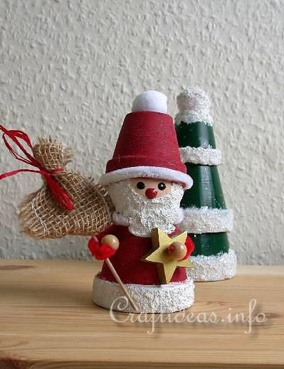 Craft Ideas For Adults | Basic Christmas Craft Ideas - Clay Pot Crafts - Clay Pot Santa Claus