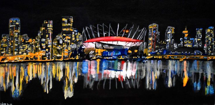 "Van by Night. 2013. Acrylic on Canvas. ""12 x 14"".   Vancouver, city, cityscape, skyline, colours, reflection, painting, art, Kelsey Rempel: Artist at Play"