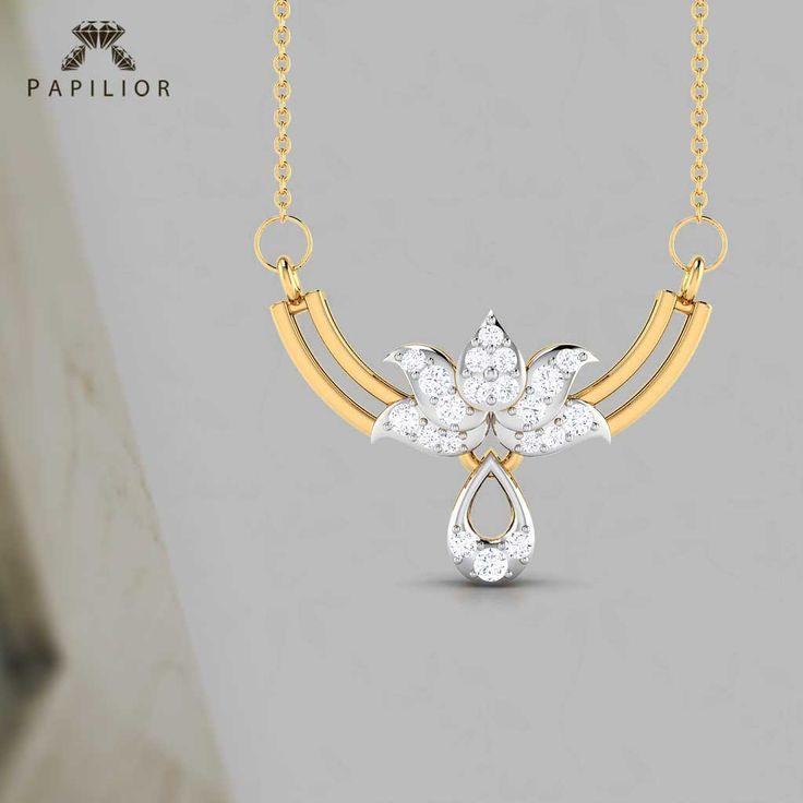Go Trendy With These Egyptian Lotus #Diamond Studded #Gold #Tanmaniya.   #buydiamondmangalsutra #tanmaniyamangalsutra #diamondmangalsutra #mangalsutra #goldmangalsutra