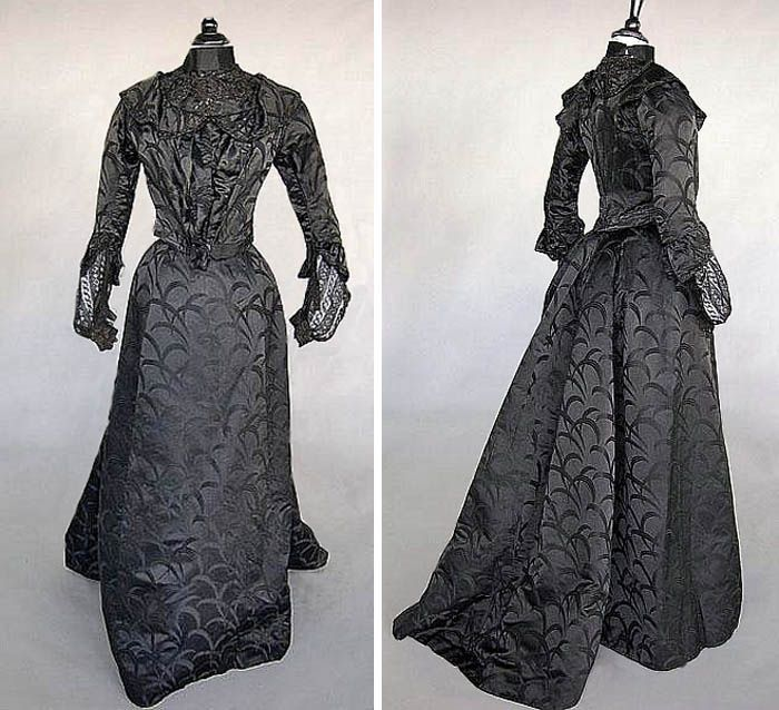 Black Damask Mourning Gown, John Lewis & Co, London, Ca