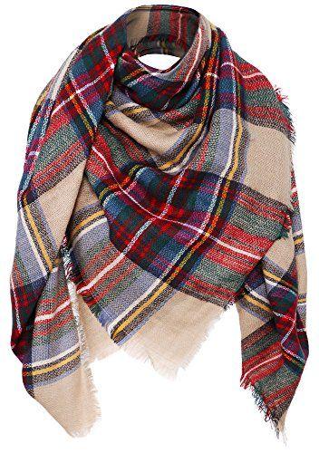 Blanket Scarf Wrap Shawl Plaid Tassel Pashmina