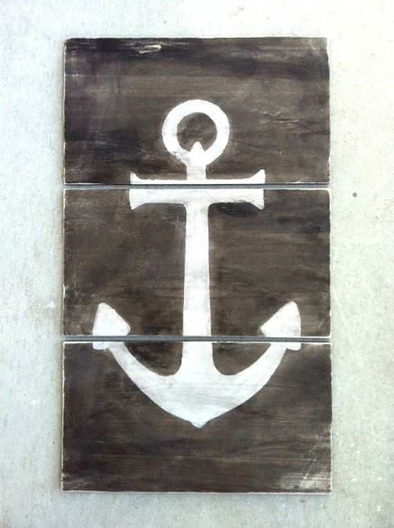 ANCHOR RECLAIMED WOOD Sign- Nautical Wall Decor - Beach Vintage Inspired