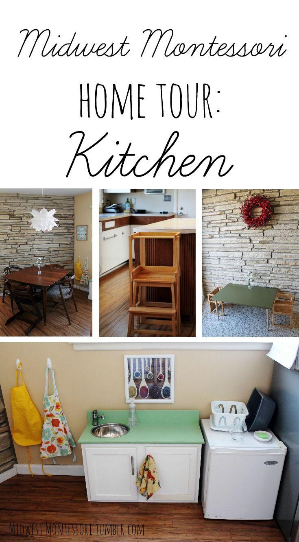 Montessori home tour, a look at a Montessori home kitchen for children.