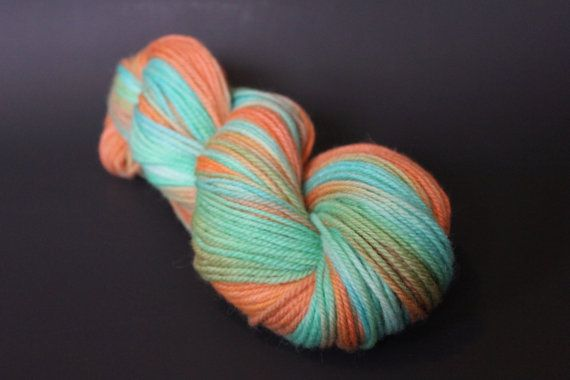 This hand painted yarn is dyed by myself in lovely summery colours! (100% wool)
