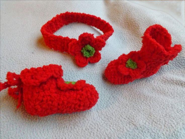 Amigurumis Ganchillo y mas: Escarpines de bebé tejidos a crochet  y diadema