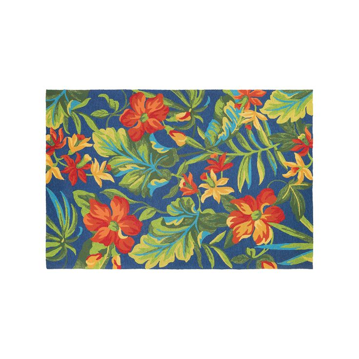 Couristan Covington Tropical Orchid Floral Indoor Outdoor Rug, Blue, Durable