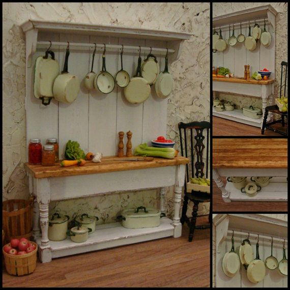 Chef's Work Table with Pots and Pans 1:12 Scale Miniature Dollhouse Furniture
