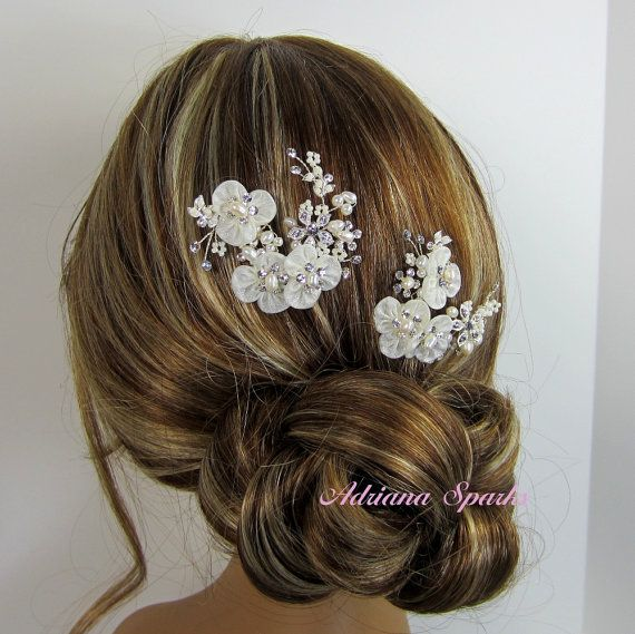 Bridal Flower Hair Pin, Wedding Hair Accessories, Organza Flower Pin,Bridal Head Piece, Bridal hair comb, Bridal Headpieces on Etsy, $22.00