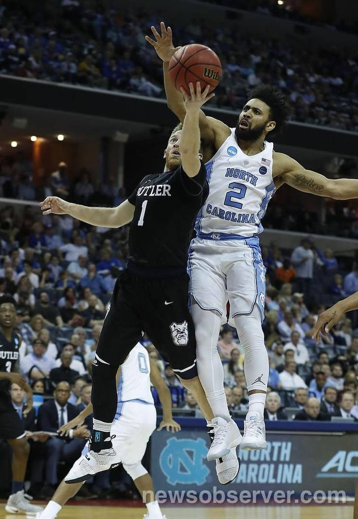 Butler's Tyler Lewis (1) shoots as North Carolina's Joel Berry II (2) defends during the first half of UNC's game against Butler in the NCAA Tournament South Regional semifinal at FedExForum in Memphis, TN Friday, March 24, 2017.