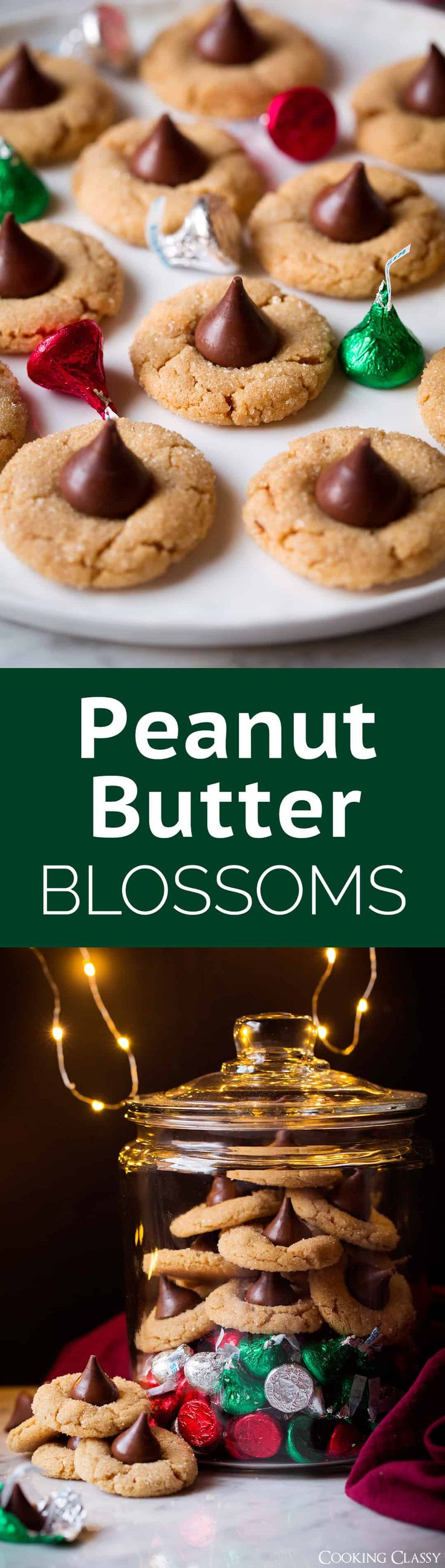 Peanut Butter Blossoms - a holiday MUST! Soft and tender and perfectly peanut buttery! Plus isn't that milk chocolate and peanut butter combo just dreamy? via @cookingclassy