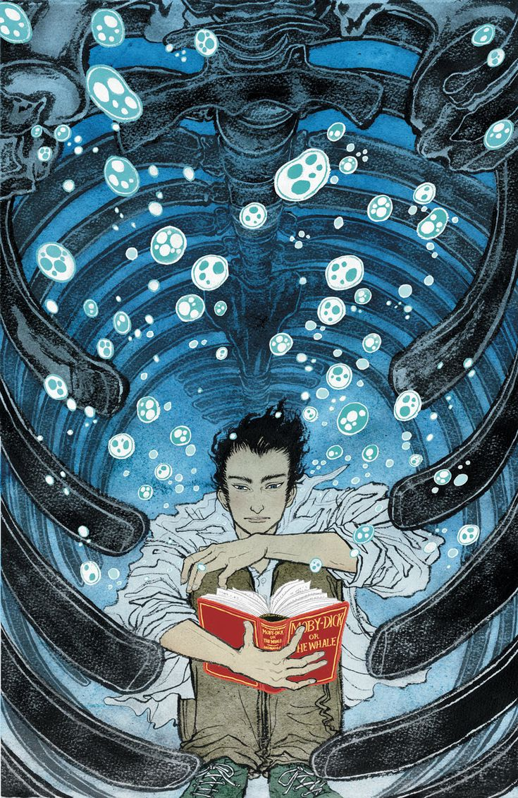 Yuko Shimizu Illustration where man is reading a book while under water and trapped in a what seems to be a rib cage must represent something. the colors work well the way it's designed makes you feel like your actually trapped.