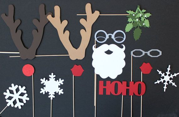 Photo Booth Props. Christmas Photobooth Photo Props. Santa and Claus Winter Wonderland. photobooth christmas card. $50.00, via Etsy.
