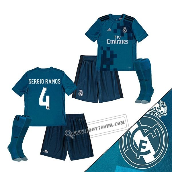 Promotion: Boutique Foot769fr Ensemble Flocage Maillot De Real Madrid (Sergio Ramos 4) Enfant Third Bleu 2017-2018 Thailande Nouveau