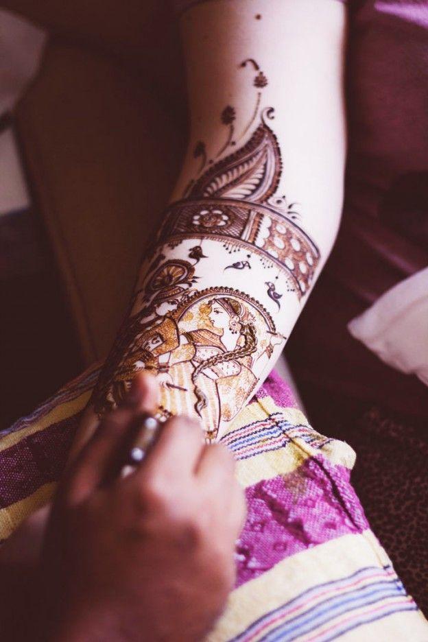 Engagement Mehndi Designs - Dulha-Dulhan Mehndi Design