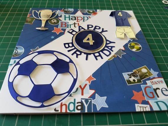 Happy Birthday Card Age 4 Footy Boy Kids Son Brother Grandson Etsy In 2021 Happy Birthday Cards Birthday Cards Boy Cards