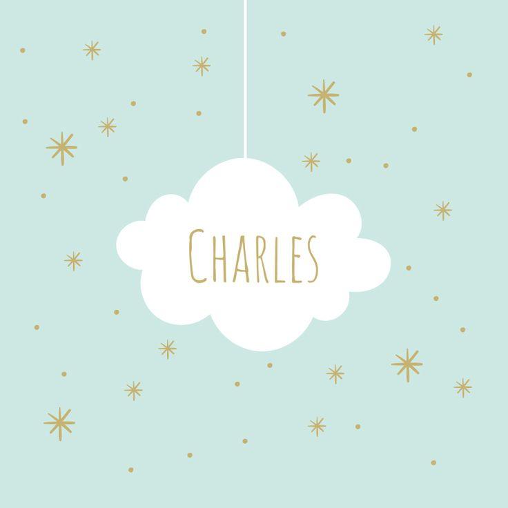 Comme notre modèle de faire-part de naissance fille Mahaut, notre modèle Charles annoncera avec son nuage et ses étoiles en douceur et élégance la naissance de votre enfant !