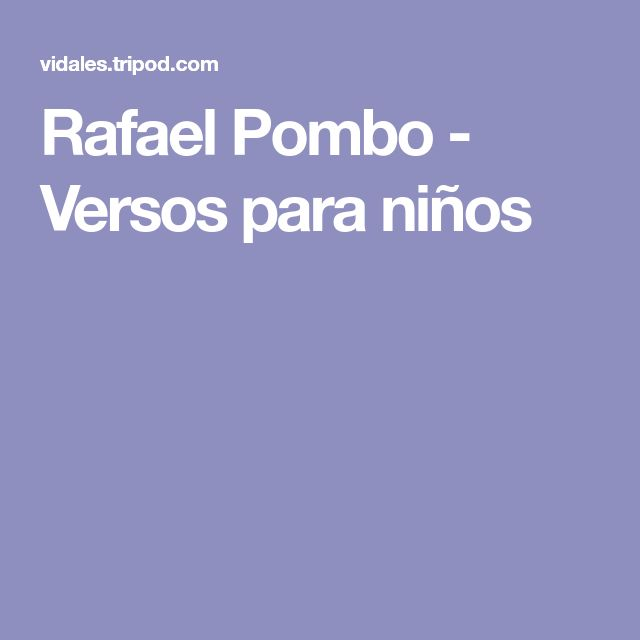 Rafael Pombo - Versos para niños