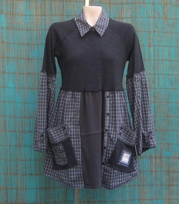 Upcycled Tunic Babydoll Tunic Size Medium by AnikaDesigns on Etsy, $38.00