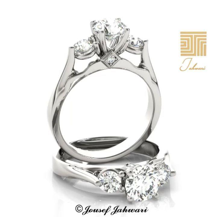 خاتم الماس التاج ذهب ابيض تألقي بإطلالات ملكية بإرتدائك خاتم التاج بتصميم مستوحى من الفخامة و الترف بثلاثة أحجار من الماس تتوج Engagement Rings Rings Jewelry