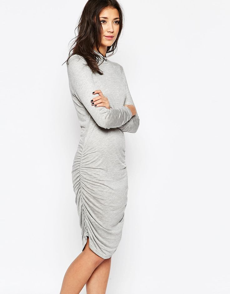 Ichi Roll Neck Bodycon Dress With 3/4 Sleeves